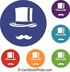 Cylinder and moustaches icons set in flat circle reb, blue...