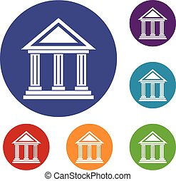 Colonnade icons set in flat circle reb, blue and green color...