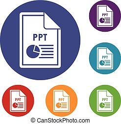 File PPT icons set in flat circle reb, blue and green color...