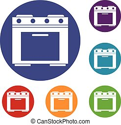 Gas stove icons set in flat circle reb, blue and green color...