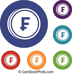 Franc coins icons set in flat circle reb, blue and green...