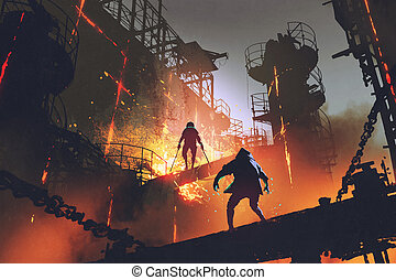 fight of two warriors in industrial factory - sci-fi scene...