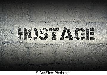 hostage WORD GR - hostage stencil print on the grunge white...