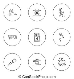 Set Of 9 Editable Camping Icons. Includes Symbols Such As Beauty Insect, Flashlight, Flammable Stick And More. Can Be Used For Web, Mobile, UI And Infographic Design.