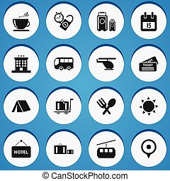 Set Of 16 Editable Travel Icons. Includes Symbols Such As...