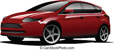 Red car on the road. Vector illust