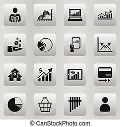 Set Of 16 Editable Statistic Icons. Includes Symbols Such As Revenue, Banking House, Pie Graphic And More. Can Be Used For Web, Mobile, UI And Infographic Design.