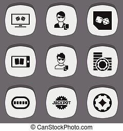 Set Of 9 Editable Excitement Icons. Includes Symbols Such As Cash, Big Win, Cell Play Cards And More. Can Be Used For Web, Mobile, UI And Infographic Design.