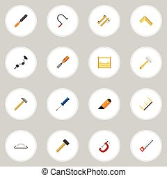 Set Of 16 Editable Equipment Icons. Includes Symbols Such As Hammer, Clamp, Tool And More. Can Be Used For Web, Mobile, UI And Infographic Design.