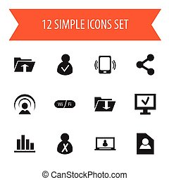 Set Of 12 Editable Network Icons. Includes Symbols Such As Smartphone, Computer, Publish And More. Can Be Used For Web, Mobile, UI And Infographic Design.