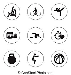 Set Of 9 Editable Healthy Icons. Includes Symbols Such As Instruction Male, Training Pool, Basket Play And More. Can Be Used For Web, Mobile, UI And Infographic Design.