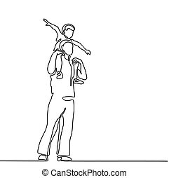 Father with son on shoulders - Continuous line drawing...