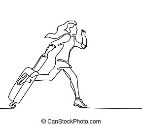 Young woman running with a suitcase