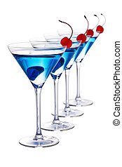 Blue cocktails isolated - Four blue cocktail martini's with...