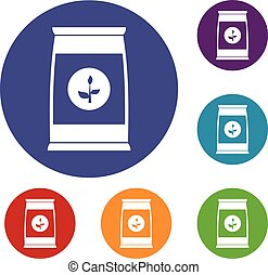 Flower seeds in package icons set in flat circle reb, blue...