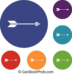 Long arrow icons set in flat circle reb, blue and green...