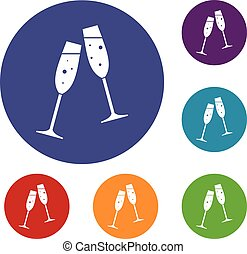 Two glasses of champagne icons set - Two glasses of...