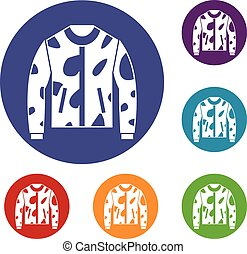 Camouflage jacket icons set in flat circle reb, blue and...
