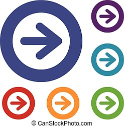 Arrow in circle icons set in flat circle reb, blue and green...