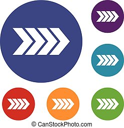 Striped arrow icons set in flat circle reb, blue and green...