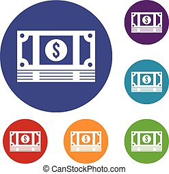 Stack of money icons set in flat circle reb, blue and green...