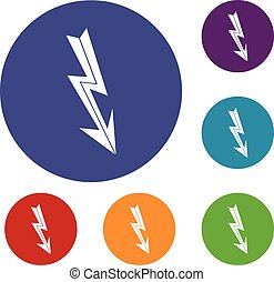 Arrow lightning icons set in flat circle reb, blue and green...