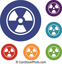 Danger nuclear icons set - Danger nuclear in simple style...