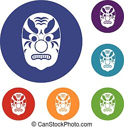 Tribal mask icons set in flat circle reb, blue and green...