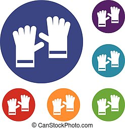 Rubber gloves icons set in flat circle reb, blue and green...