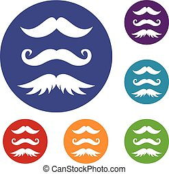 Moustaches icons set in flat circle reb, blue and green...