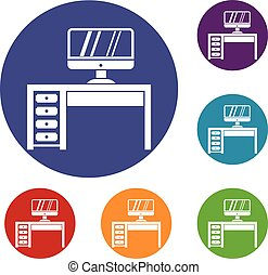 Computer desk, workplace icons set