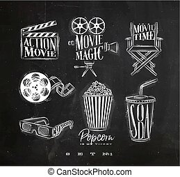 Cinema signs chalk - Cinema signs clapperboard, movie...