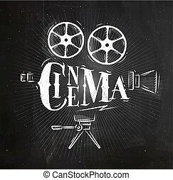 Poster movie camera chalk - Poster movie camera lettering...