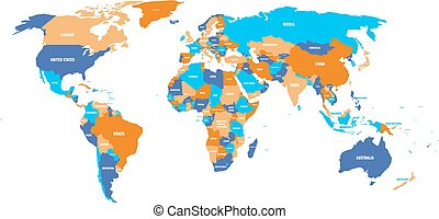 Political map of World in four colors with white country name labels. Isolated on white background. Vector illustration
