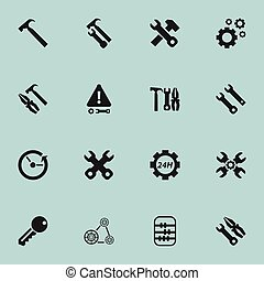 Set Of 16 Editable Service Icons. Includes Symbols Such As...