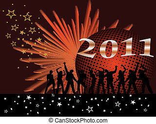 new years eve 2011 - vector illustration of dancing people...