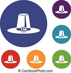 Pilgrim hat icons set in flat circle reb, blue and green...