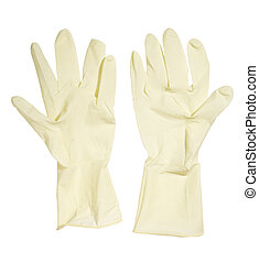 gloves 10 - close up of rubber gloves on white background...