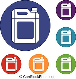 Plastic jerry can icons set in flat circle reb, blue and...