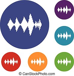 Audio digital equalizer technology icons set in flat circle...