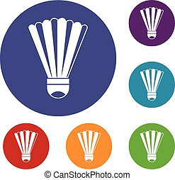 Shuttlecock icons set in flat circle reb, blue and green...