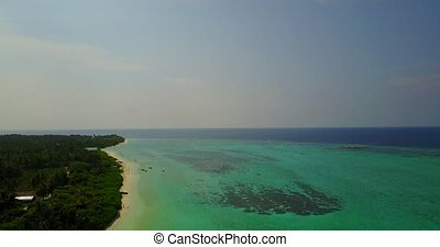 v04650 Aerial flying drone view of Maldives white sandy...