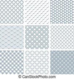 Seamless fish scale patterns set.