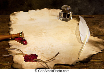 Blank parchment and wax seal - Blank parchment scroll with...