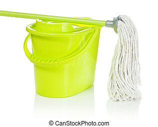 bucket with mop on it