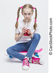 Kids Concepts. Portrait of Little Caucasian Blond Girl with...
