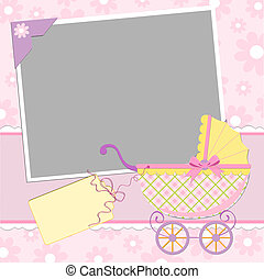 Template for baby's photo album or postcard