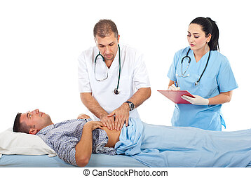 Doctor palpating patient abdomen - Doctor palpate with his...