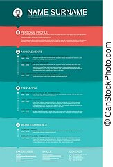 Vector minimalist cv / resume template with color stripes