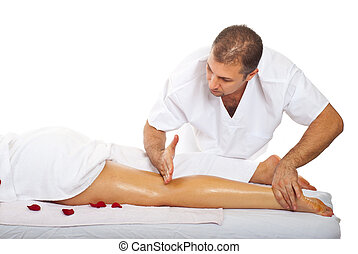 Friction massage to womans leg - Real masseur give friction...